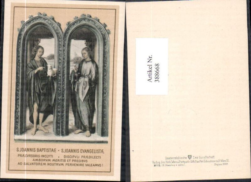 388668,Andachtsbild Heiligenbildchen H. Memling S. Joannis Baptistae S. Joannis Evangelistae