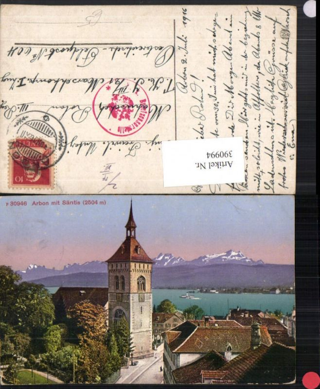 390994,Arbon Teilansicht Turm m. Säntis Bergkulisse Kt Thurgau