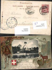 390995,Präge AK Romanshorn Schloss u. Kirche Passepartout Gams Kt Thurgau