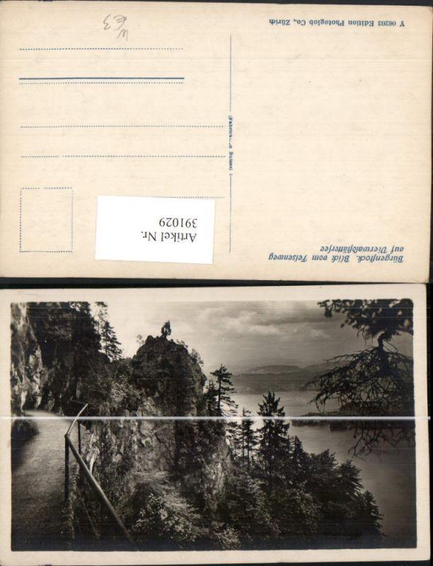 391029,Bürgenstock b. Ennetbürgen Blick vom Felsenweg auf Vierwaldstättersee Kt Nidwalden