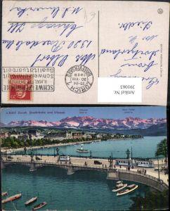 391063,Zürich Quaibrücke Brücke u. Utoquai Bergkulisse