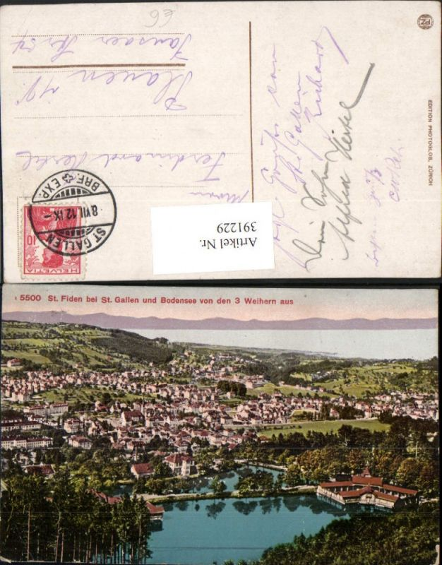 391229,St. Fiden b. St. Gallen u. Bodensee von den 3 Weihern aus Totale Kt St Gallen
