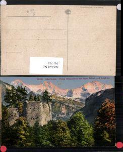 391722,Interlaken Ruine Unspunnen m. Eiger Mönch u. Jungfrau Bergkulisse Kt Bern