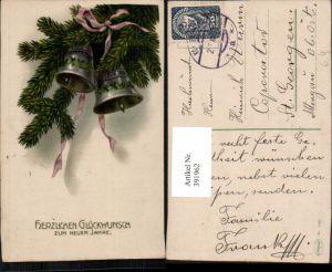 391962,Neujahr Tannenzweige Glocken Schleife