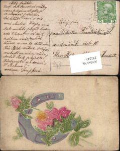 392242,Präge Relief Künstler AK Handgemalt Hufeisen Rosen Blume