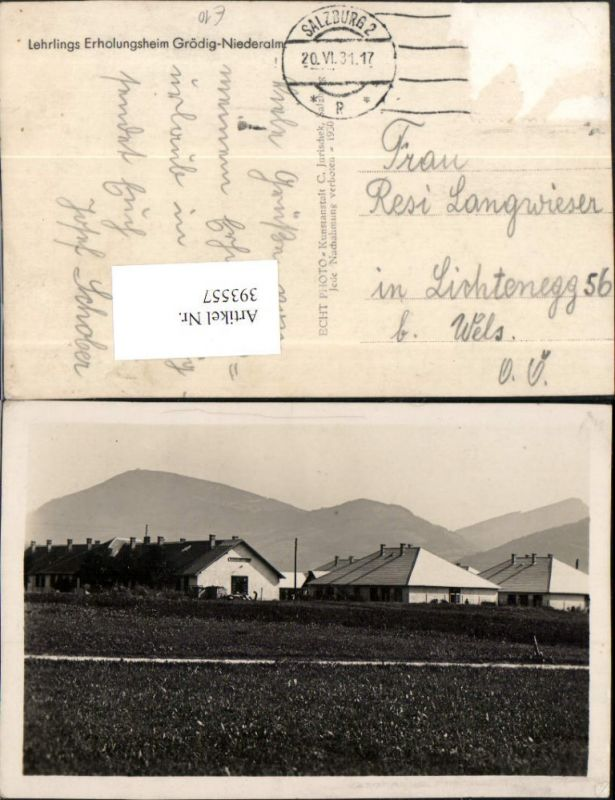 393557,Grödig Niederalm Lehrlings Erholungsheim Bergkulisse