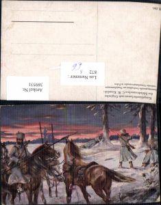 389531,Künstler Ak C. W. Kiesslich WW1 Soldaten Pferde Husarenpatrouille Husaren i. Polen Patriotik