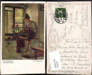 394254,Künstler AK Karl Zewy Der Vogelfreund Junge in Tracht Hut Vogelkäfig pub B.K.W.I. 1181