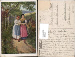 394369,Künstler AK C. Benesch Die Dorfschönen Frauen m. Kleider