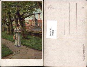 394408,Künstler AK Fritz Bergen Zum Stelldichein Frau m. Kleid Hut