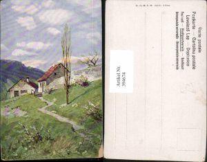 394674,Künstler AK Splitgerber Landschaft Wegpartie Haus