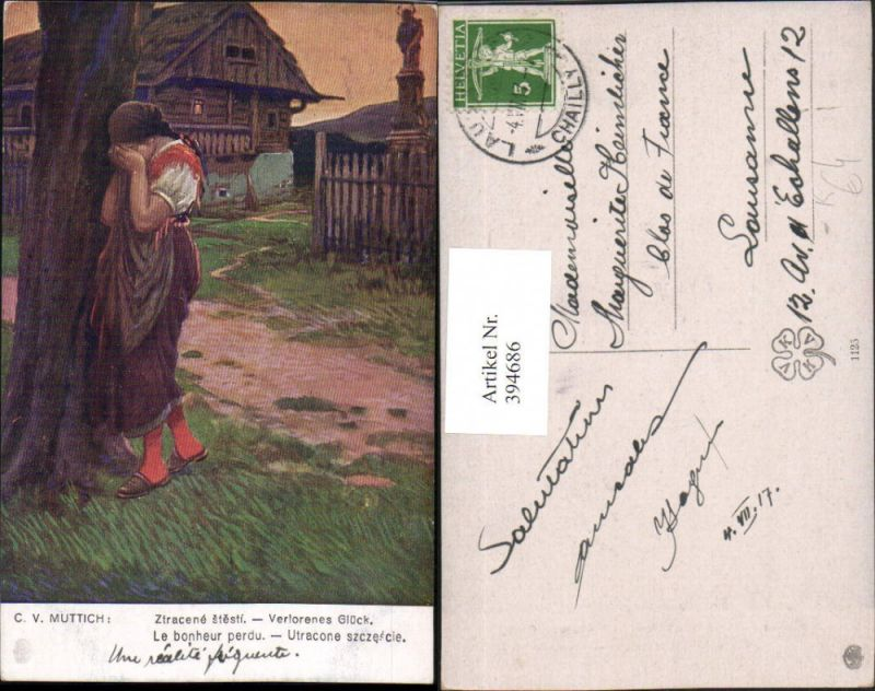 394686,Künstler AK C. v. Muttich Verlorenes Glück Frau weint