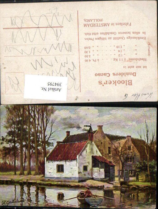 394795,Künstler AK Johan Georg Gerstenhauer Landschaft Haus Boot