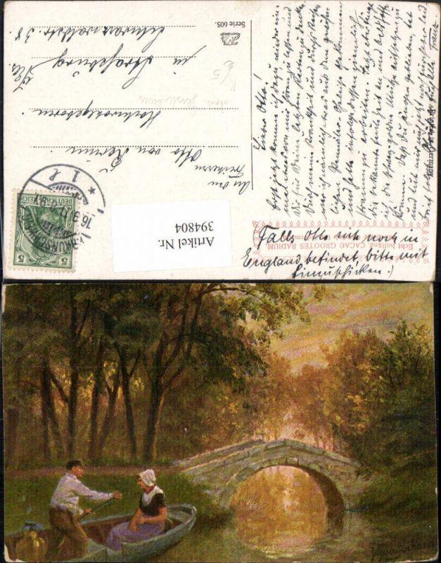 394804,Künstler AK Johan Georg Gerstenhauer Landschaft Fluss Boot Brücke