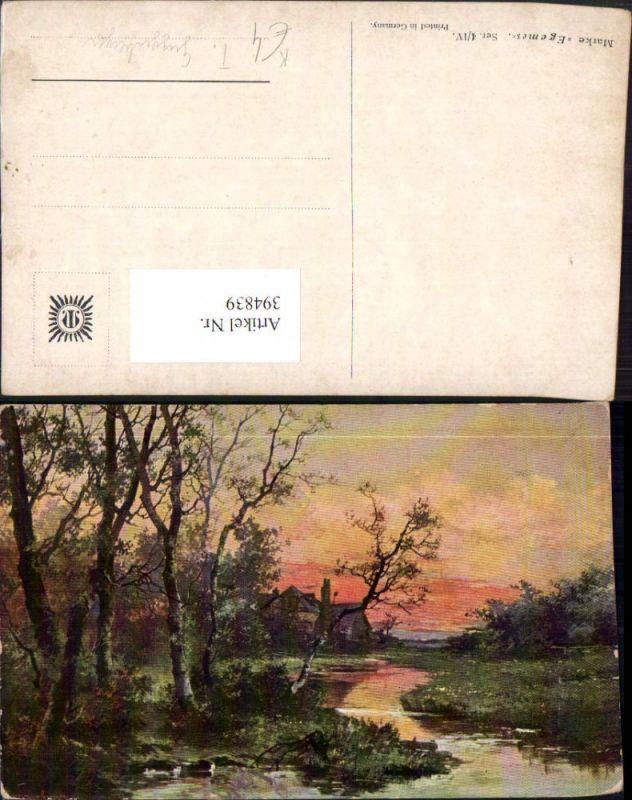 394839,Künstler AK T. Guggenberger Landschaft Bach Haus Bäume