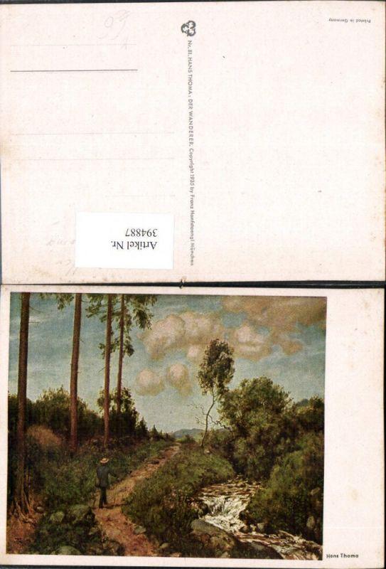 394887,Künstler AK Hans Thoma Landschaft Wanderer Bach Wegpartie