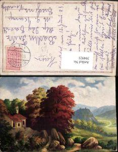 394921,Künstler AK G. Fiebiger Landschaft Kirche Burg