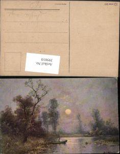 395010,Künstler AK B. Martinet Landschaft See Fischer Angler angeln