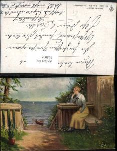 395035,Künstler AK R. De Witt In Gedanken Frau m. Buch Strand Boot