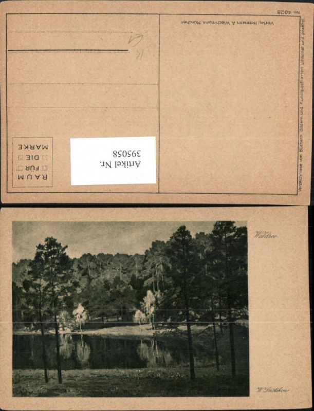395058,Künstler AK W. Leistikow Waldsee See Wald pub A. Wiechmann 4028