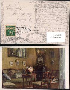 395098,Künstler AK R. Konopa Die trauliche Ecke Tisch Stühle Uhr pub B.K.W.I. 1039