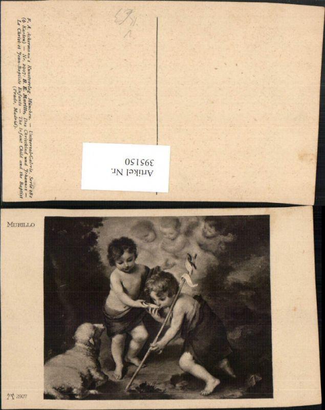395150,Künstler AK B. E. Murillo Das Christkind u. Johannes Lamm pub Ackermann 2907