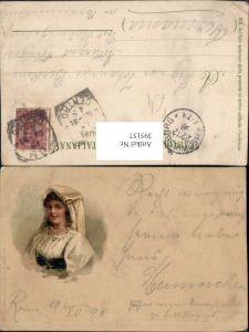 395157,Künstler AK Frau in Tracht m. Kopftuch Perlenkette Portrait