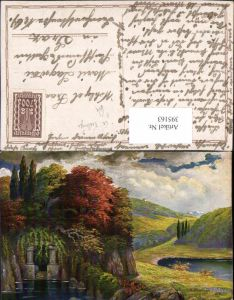 395163,Künstler AK G. Fiebiger Landschaft Höhle
