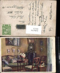 395175,Künstler AK R. Konopa Die trauliche Ecke Tisch Stühle Uhr pub B.K.W.I.