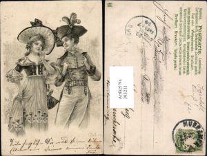 395231,Jugendstil Künstler AK E. Bottaro Liebe Paar Federhut Hut Buch