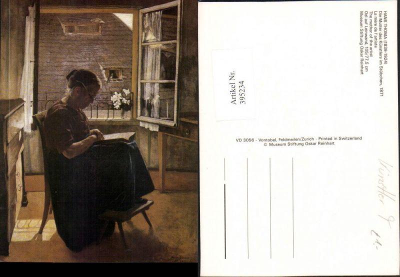395234,Künstler AK Hans Thoma Mutter des Künstlers im Stübchen b. Lesen liest Buch Fenster