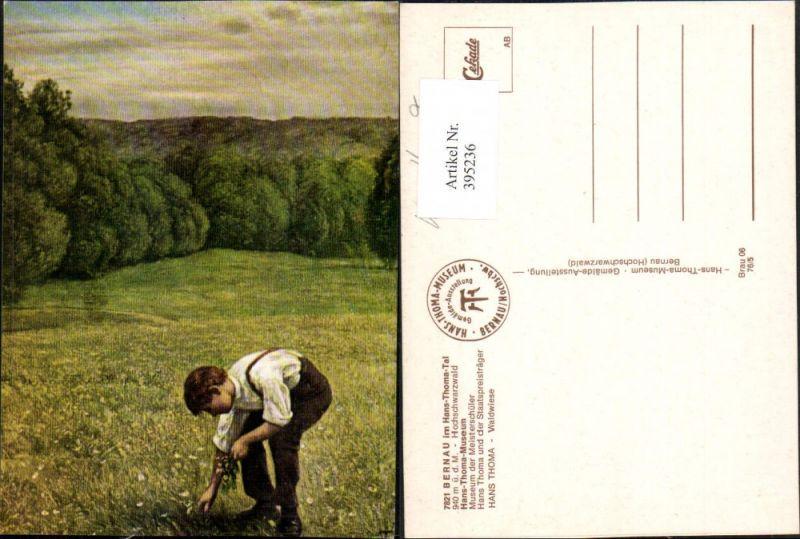395236,Künstler AK Hans Thoma Waldwiese Junge Bub b. Blumen pflücken