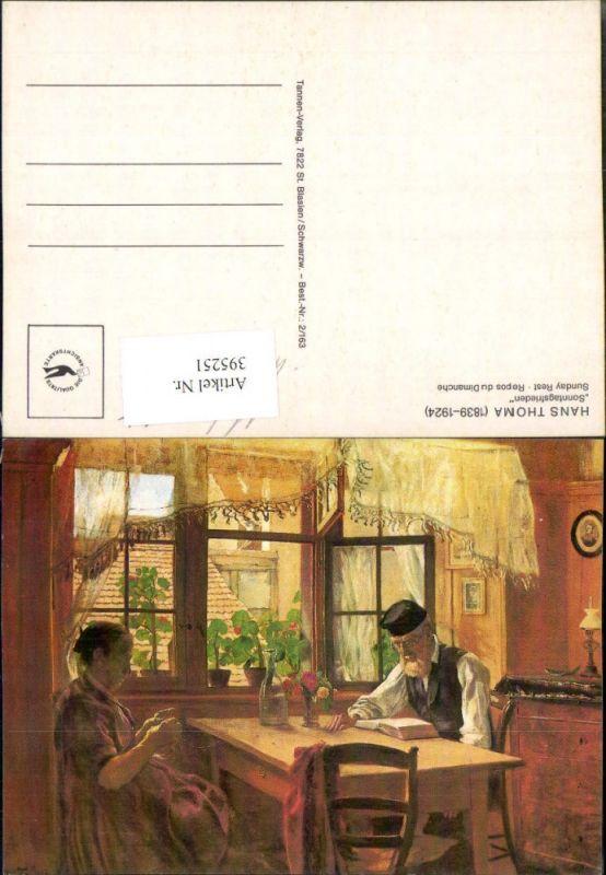 395251,Künstler AK Hans Thoma Sonntagsfrieden Paar Tisch Frau b. Stricken Mann b. Lesen liest