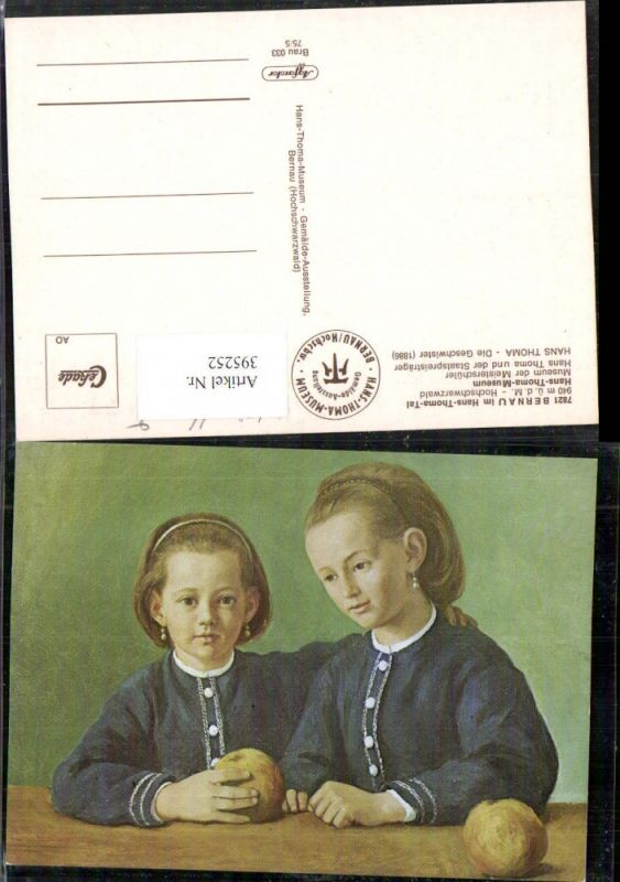 395252,Künstler AK Hans Thoma Die Geschwister Kinder Mädchen Portrait Äpfel