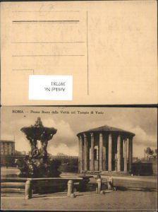 397781,Lazio Roma Rom Piazza Bocca della Verita col Tempio di Vesta Tempel Brunnen