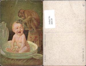 400139,A. von Riesen Unerbetener Liebesdienst Kleinkind Affe Kopfläuse Scherz Humor pub Paul Heckscher 305