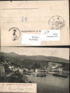 401228,Croatia Ika Totale vom Wege nach Lovrana Hafen Dampfer