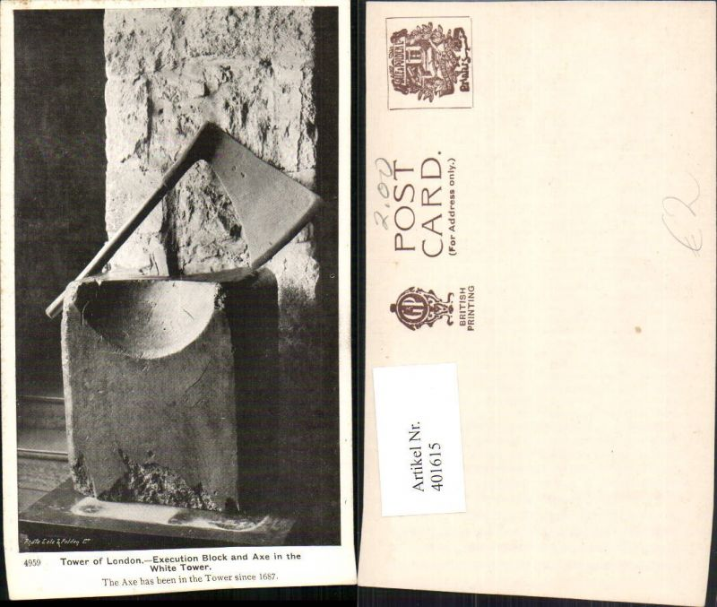 401615,England Tower of London White Tower Execution Block and Axe Axt