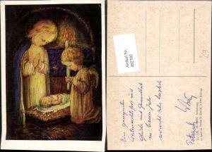 402702,Künstler AK M. Spötl 326 Anbetung Religion Jesuskind Engel Kerze