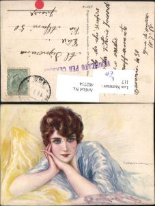 402714,Künstler AK T. Corbella Frau m. Kurzen Haaren Portrait
