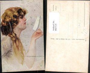 402715,Künstler AK T. Corbella Frau b. Lesen liest Portrait