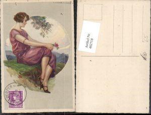 402718,Künstler AK T. Corbella Frau m. Kleid Rose