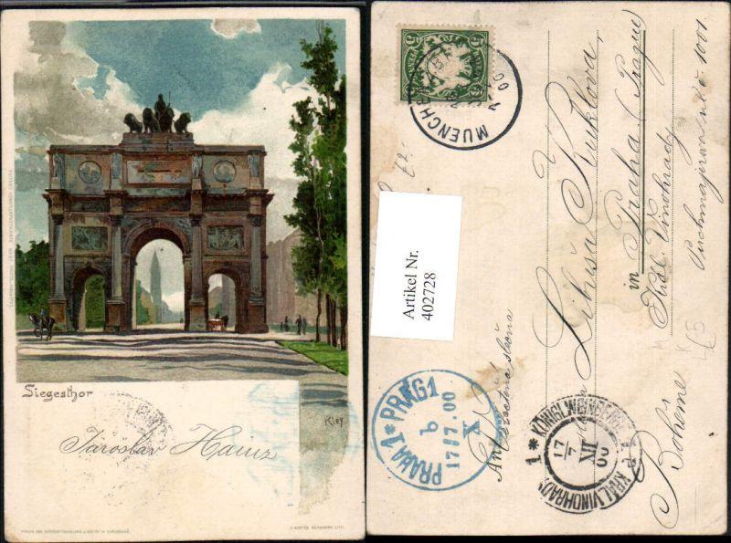 402728,Künstler Litho Heinrich Kley München Siegestor Torbogen