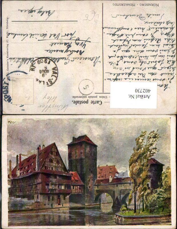 402730,Künstler Litho Heinrich Kley Nürnberg Henkersteg Turm