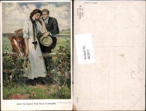 402837,M. Munk Vienne 834 C Künstler Clarence F. Underwood Liebe Paar Zaun Pferd