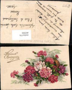 402906,Meissner & Buch 92 Künstlerkarte Blumen Nelken Rosen