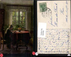 402998,Asco AK 3139 Künstler Sigvard Hansen In Großmutters Reich Mädchen Tisch Fenster