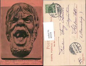 403238,Künstler AK Arnold Böcklin Skulptur Mann Kopf