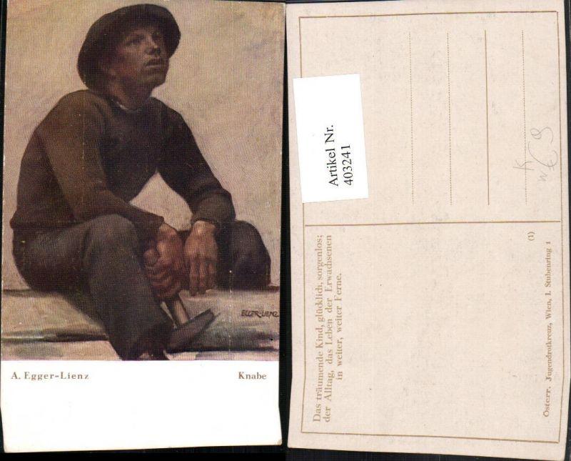 403241,Künstler AK A. Egger Lienz Knabe Mann m. Hut Hammer