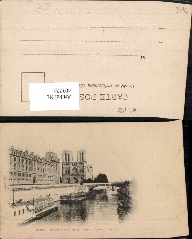 403774,Ile-de-France Paris Le Petit bras de la Seine au Pont St Michel Brücke Kirche